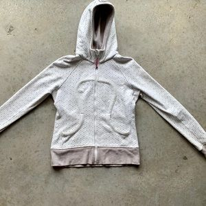 Lululemon Scuba Hoodie polka dot white gray fleece